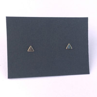 Tiny Triangle Stud Earrings Gold. Sterling Silver Posts. Geometric Studs. Basic Shape Earrings. Minimalist Everyday Jewelry. Gift Under 15