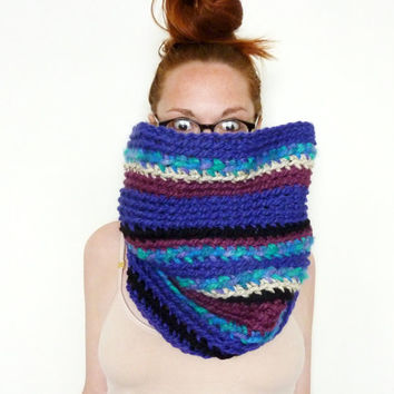HUGE Chunky Mixed Purple Cowl Scarf. One of a kind. Ready to Ship