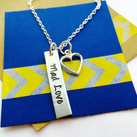 Friends Necklace Hand Stamped Rectangular Tag Necklace, Mad Love ,Tag Necklace, Best Friends, Sisters