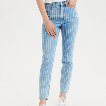 Mom Jean, Retro Indigo Stripe