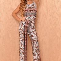 Mad Tea Party Jumpsuit - Taupe/Wine