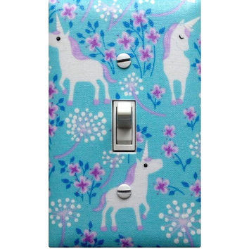Unicorn Light Switch Plate Cover / Aqua Girls Room / Lilac Purple Lavender/ Timeless Treasures Pretty Unicorns / Slightly Smitten Kitten