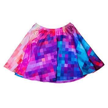 sunset pixel skater skirt XS - 3XL | plus size kawaii nerdy gaming video games cute hipster pixel rainbow colorful XL 2XL 3XL aesthetic