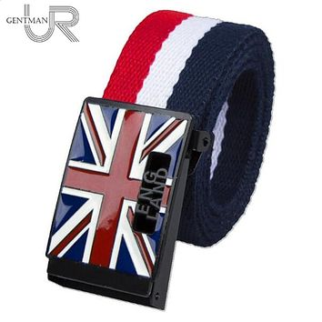 URGENTMAN Unisex Men/Women Canvas England Flag Belt
