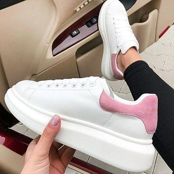 Alexander McQueen New fashion velvet tail sports running shoes Pink