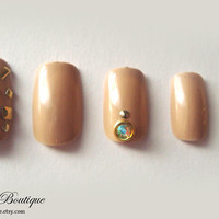 3D Bling Fake Nail Set  - Nude Beige Nails with Gold Studs and Iridescent Rhinestones
