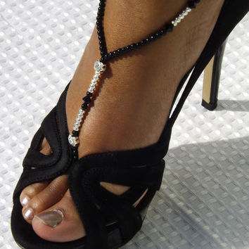 Jet Swarovski Foot Jewelry Silver  Black Beach Sandals Crystal Anklet Silver Barefoot Sandals