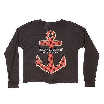 Shortie Anchor Tee in Black by Simply Southern