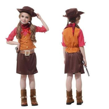 PEAPON Girls Kids Cowboy Cosplay Movie Masquerade Fantasia Disfraces Children Christmas Gift Carnival Party Costumes Fancy dress