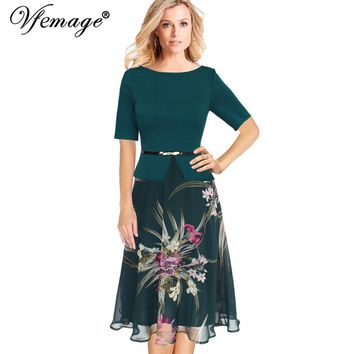 Vfemage Womens Summer Vintage Elegant Floral Print Chiffon Patchwork Tunic Work Office Party Fit and Flare A-Line Midi Dress 008