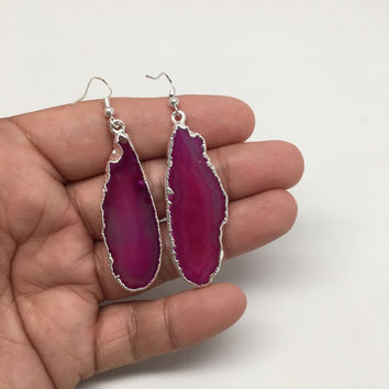 57cts Agate Druzy Slice Geode Earring Electroplated Silver Plated @Brazil,C734