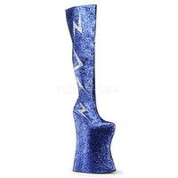 Royal Blue Lightning Glitter Thigh High Mens Boot - 10
