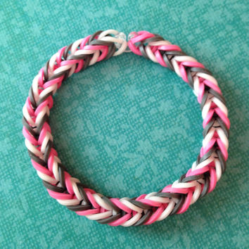 Grey, Pink, and White Rubber Band Bracelet - Rainbow Loom