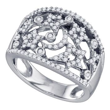 14K White Gold Womens Round Diamond Wide Star Pave-set Cocktail Band Ring 1/2 Cttw
