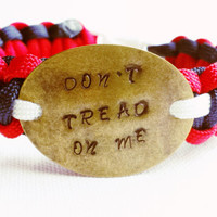 Paracord Bracelet - 2nd Amendment - Don't Tread On Me - Military Support Bracelet - Red White and Blue Paracord - Gadsden Flag - Unisex Gift