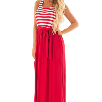 Cherry Red Maxi Dress with Striped Color Block and Pockets