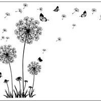 """Butterfly Flying In Dandelion ""bedroom Living room stickers Style Wall Stickers Design PVC Wall Decals 5125"