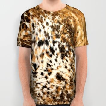 Rustic Country Western Texas Long Horn Cow Animal Hide Prints All Over Print Shirt by KateLCardsNMore