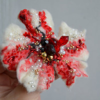 Felted Wool Brooch Flower Pin Embroidered with White, Red, Black and Golden Beads
