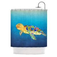 """Catherine Holcombe """"Bubbles"""" Blue Turtle Shower Curtain"""