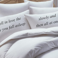 The Fault In Our Stars Inspired, I fell in love, His and Her Pillowcase set, pillow case set,couples pillowcase