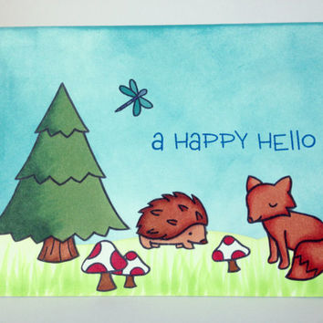 Forest Card - Nature Card - Fox Card - Outdoors Card - Hiking Card - Cute Animals Card - Thinking of You Card - Cute Hello Card - Hedgehog