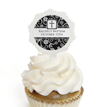 Modern Floral Black & White Cross - Personalized Baptism Cupcake Picks and Sticker Kit - 12 ct