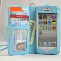 Navor Protective Flip Wallet Case for iPhone 5 / 5S / SE - Light Blue (IP5OLB)