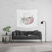 welcome autumn orange pumpkin Wall Tapestry by Sylvia Cook Photography