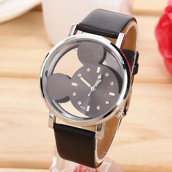 Fashion relojes Cartoon Mickey Mouse Children Watch Transparent Hollow quartz watch women Leather strap wristwatch girl Gift