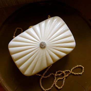 Celluloid Clam Shell Clutch Circa 1970s by TooArtfulForYou on Etsy