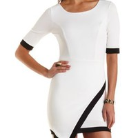 Asymmetrical Bodycon Dress by Charlotte Russe - White/Black