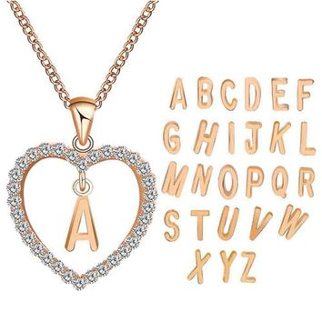 Romantic Gold Color Cubic Zirconia Love Heart Crystal Pendant Letter Name Necklace Charms Women 26 Letters Choker Jewelry