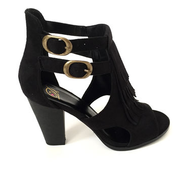 Best Foot Forward Fringe Bootie Heels in Black