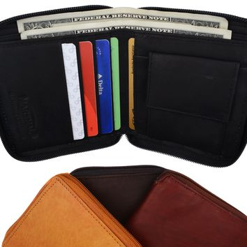 Mens Genuine Leather Zip Around Bifold Wallet with Snap Down Coin Purse 1356 CF
