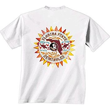 Florida State Seminoles FSU Comfort Color T-Shirt - Copper Sun Design - Color White