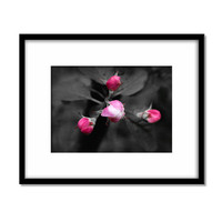 Fine Art Flower Photography, Pink and Grey Print, Watercolour Paper, Black and White Minimalist Art