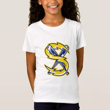 Crossed Baseball Bat With Electric Lightning Bolt T-Shirt