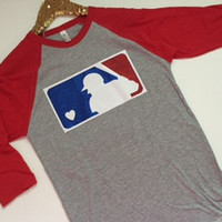 MLB Glitter Logo- Baseball - Raglan - Jersey Shirt - Ruffles with Love - Design Your Own - Customize