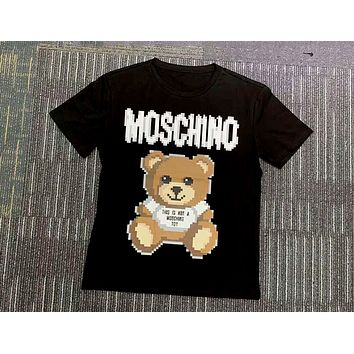 Moschino 2019 new mosaic bear print loose round neck half sleeve t-shirt Black