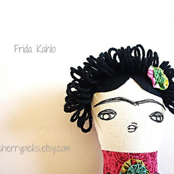 Día de la Muñeca Muerta Frida Kahlo Handmade Art Doll Dia de los Muertos Day of the Dead Decoration