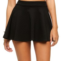 Sale-black Textured Skater Skirt