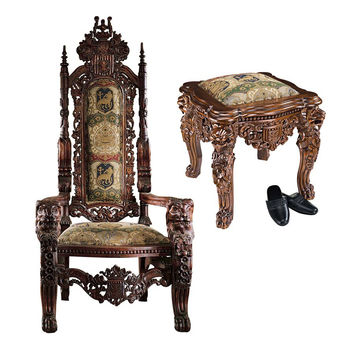 Park Avenue Collection Lord Raffles Throne & Ottoman Set