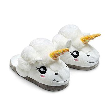 Plush Unicorn House Slippers (4 Color Options)