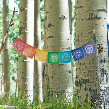 Chakra Prayer Flags ~ Sacred Geometry ~ Flower of Life ~ Original Art ~ Home Decor ~ Yoga ~ Rainbow ~ Bohemian ~ Gypsy ~