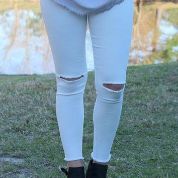 All Purpose Slit Knee Skinny Jeans in White