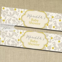 "Drink Labels Whimsical Gray & Yellow Floral Baby Shower Printable Water Bottle Labels Retro DIY Bottle Labels 8x2"" - Meredith Collection"