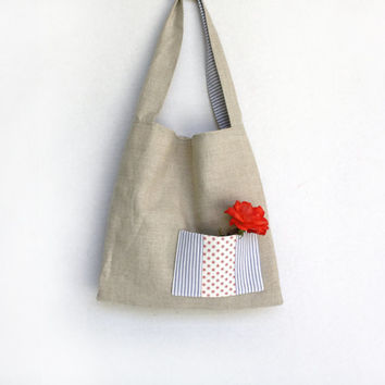 Linen Tote Bag Purse with Knotted Strap Red White Bllue Beige