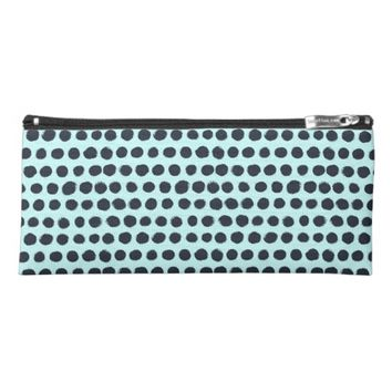 Polka Dot-Pattern Blue Pencil Case