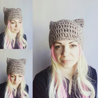 Beige Pussy cat Hat Pussy Hat Women Valentine's Gift Girl Cat Hats Animal Hat for Girl Women Oatmeal Hat with Ears Cat Hat PussyCat Hat